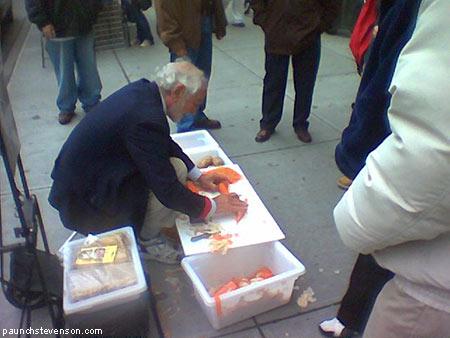 old British street vendor Joe Ades selling peelers in NYC