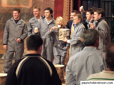 Kelly Ripa and Regis Philbin with NASCAR drivers