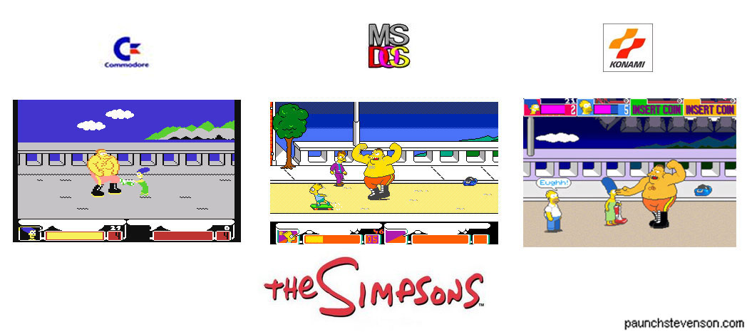 Comparison of The Simpsons game by Konami, 1991