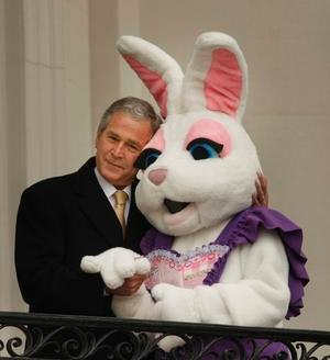 George W. Bush hugging the Easter bunny